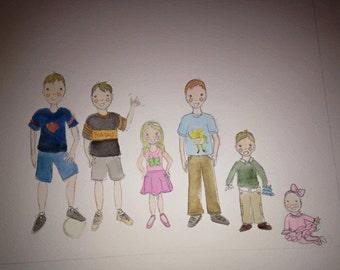 Family of 6 Custom Portrait