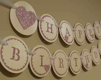 Pink Glitter Birthday Banner, Pink and Gold Birthday Banner, Pink Hearts Birthday Banner, Girl Birthday Banner