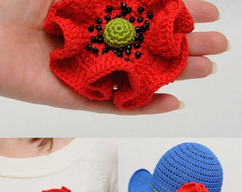 Poppy pin mom gift for womens gift|for|her Floral Crochet poppy brooch pins mother gift for mother red poppy Beaded poppy Womens Accessories