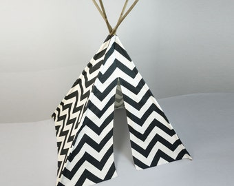 Kids Play Teepee Tent in Charcoal Gray and White Large Chevron Zig Zag print