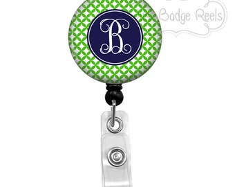 Retractable Badge Holder - Green and Navy Geometric Circles Badge Reel - Nurse Badge Holder -Retractable Badge Reel -Initial Badge Reel-0104