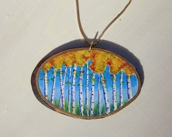 Hand Painted Necklace, Aspen Trees Design on Aspen Wood