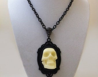 Skull Cameo Necklace Edgar Allan Poe Masque Of The Red Death Gothic Horror Halloween Jewelry Black Cream