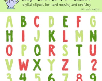 Christmas Letters-Digital Clipart-Instant Download
