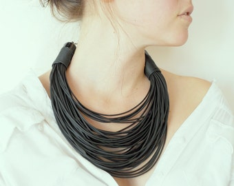 Black Rubber String Necklace, Eco- Friendly Jewelry, Contemporary Hand-Made Necklace,  Graphite Necklace