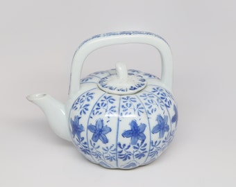 1960's Mid Century Porcelain, Blue and White Pumpkin Shaped Tea Pot with Lid