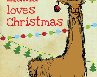 Llama design Christmas card on recycled card stock