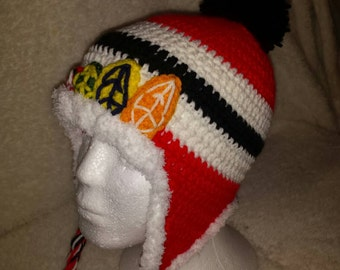 Chicago Blackhawks Fuzzy Beanie with Earflaps ~ Made to Order