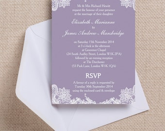 Lavender/Lilac and White Vintage Lace Wedding Invitation & RSVP with envelopes