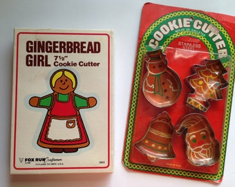 Vintage Cookie Cutters / Chocolate Candy Molds / Stainless Steel Cookie Cutters / Gingerbread Girl Christmas Holiday Set of 5 / Cookie Molds