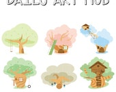 50% Off Tree House Clip Art, Home Clip Art, Playhouse Printables, Climbing Clip Art, Digital Art, Royalty Free