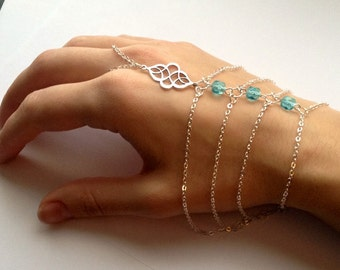Bohemian hand jewelry slave bracelet hand jewel boho hand bracelet tribal hand bracelet aqua slave bracelet aqua hand jewelry tribal bracele
