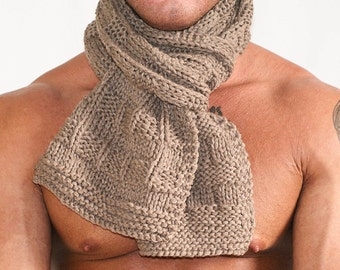 """Men's scarf Cashmere, Italian, Men Cashmere Scarf, Beige, 62"""" long, Chunky, Gift for him, Warm, Winter Scarf, Cashmere Scarf, Hand knit"""