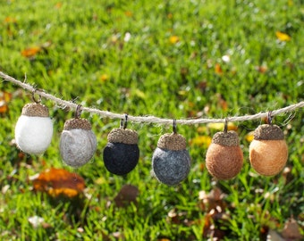 Cozy Woolen Acorn Ornaments, 6-Pack