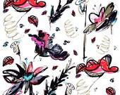 Orange Fleur Tea Towel ~ Flour Sack ~ Ellie Fidler Painting