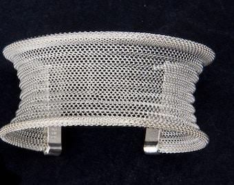 Adjustable Lightweight Silver Mesh Cuff Bracelet