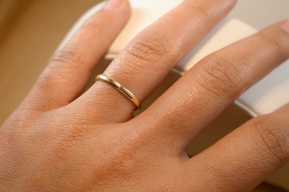 10K Yellow Gold 2mm Size 11 Solid Women Plain Wedding Band