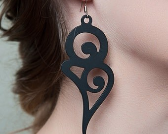 boucles d'oreilles COURBE LADYGUM, pendants, oreilles, bijoux, bijoux créateurs, courbe, fashion tattoo, tattoo, accessoire, femme, mode