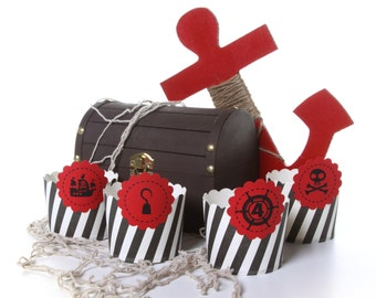 Pirate Skull and Crossbones Cupcake Holder Wrap. Cupcake wrapper. Cupcake Sleeve. Pirate Birthday Party. Skull and Bones Theme. Set of 12