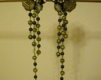 Handmade Chandelier Drop Earrings Blues/Grays/Silver