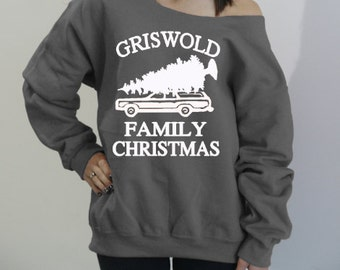 Griswold Family Christmas. Slouchy oversized sweatshirt. Off the shoulder holiday sweater. Griswold Family Christmas Vacation sweater.