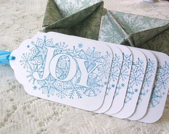 Christmas Gift Tags - Large Christmas Tags - Blue White Joy Gift Tags - Set of 6 Double Layer Holiday Tags - Handstamped Tags