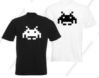 Games Space Invaders shirt 8 bit retro gamer tee shirt tshirt atari 8 bit 8bits 8 - bit geek nerd retro gaming S M L XL
