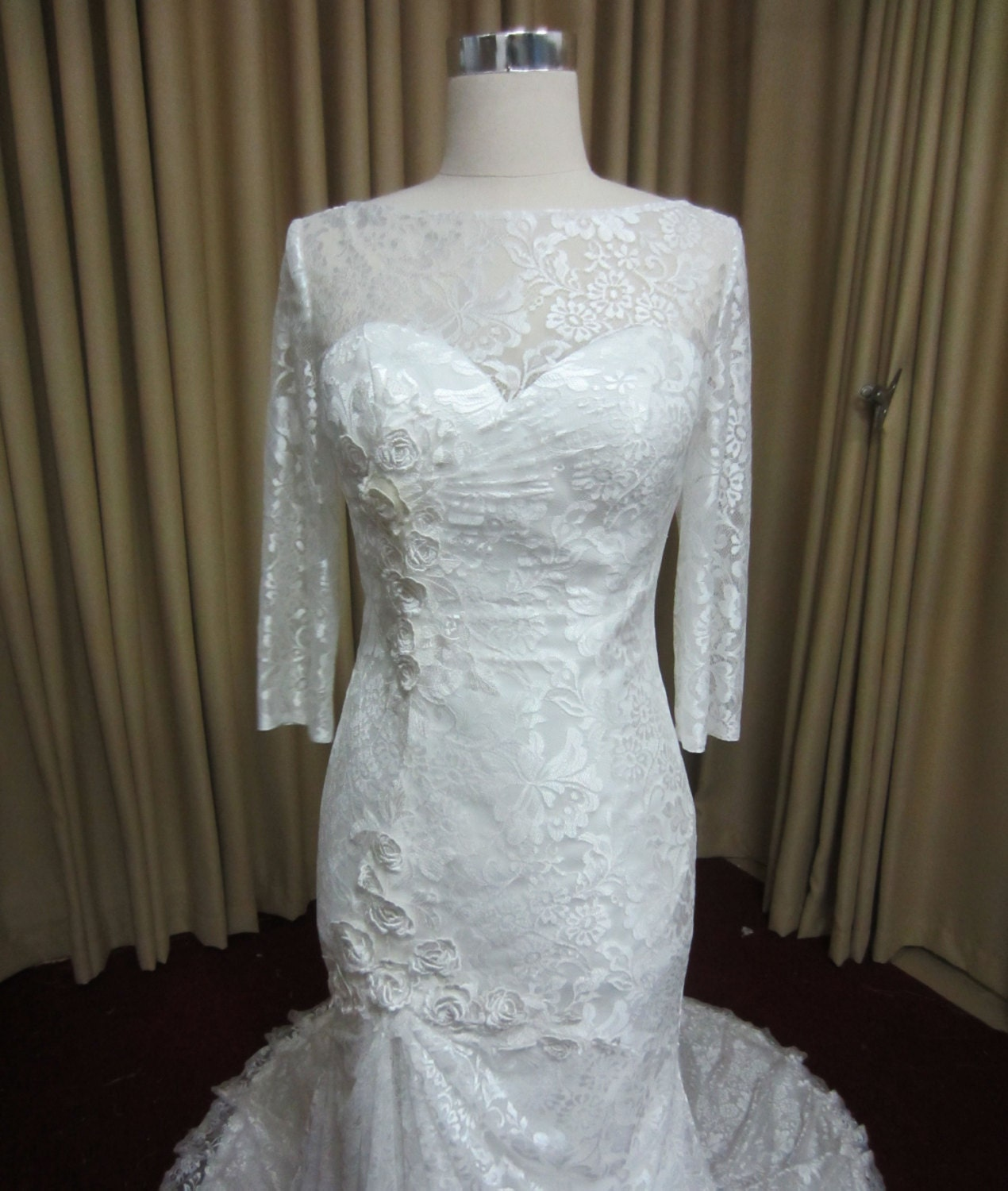 Long Sleeve Lace Trumpet Wedding Dress with by
