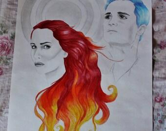 "Catching Fire Katniss and Peeta hand drawn 18x24"" Portrait"