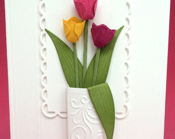 All Occasion 3D Tulips in a Vase Card, Handmade Card, Birthday Card, Get Well Card, Unique Card,Thinking of You Card,Happy Mother's Day Card
