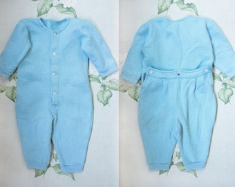 60's Baby Thermal Onesie / Soviet Vintage Sky Blue Toddler Flannelette Bodysuit / Warm Baby Body Suit, Long Sleeve Base Layer Thermals