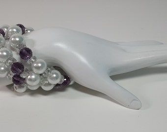 Pearl and Amethyst Memory Wire Bracelet