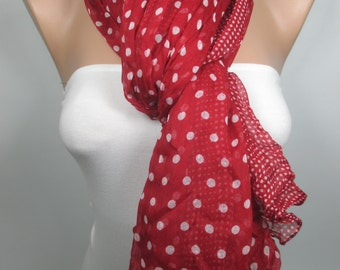 Winter Spring Fashion Scarf Red Scarf Shawl Crinkle Cowl Scarf Polka Dots Scarf Women Fashion Accessories Valentines Day Gift Ideas For Her