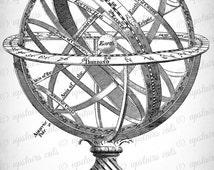 Vintage Planetarium Astrolabe Clipart - Antique Victorian Solar System Planetarium Stars Printable Graphics - Instant Digital Download Image