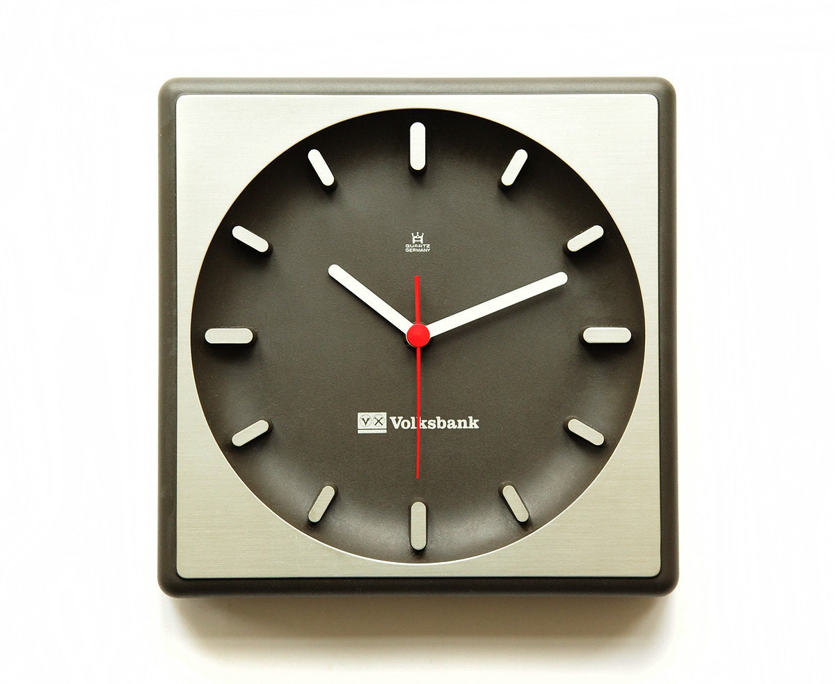 1970s aachen germany bauhaus wall office clock mid century. Black Bedroom Furniture Sets. Home Design Ideas