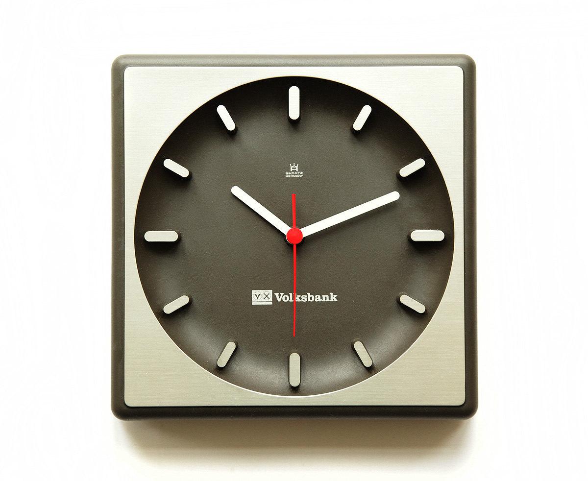 1970s Aachen Germany Bauhaus Wall Office Clock Mid Century