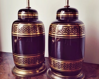 Pair Hollywood Regency Black and Gold Ceramic Table Lamps