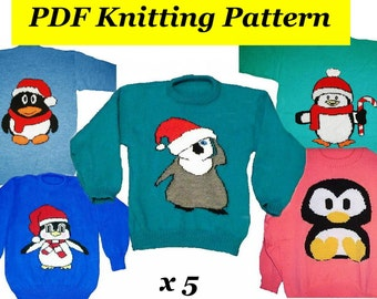 Christmas Penguin Jumper Knitting Pattern : Intarsia pattern Etsy