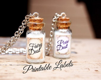 Fairy Dust Printable Labels for Mini Bottles, Pixie Dust Mini Bottle Necklace Labels, DIY