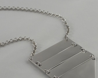 Chic Ladder Long Bib Necklace Choose from Rhodium or 14K Gold Plate