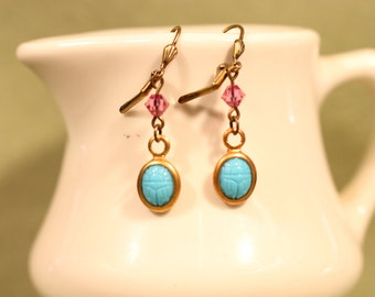 Scarab Earrings With Vintage Turquoise Glass and Pink Vintage Swarovski beads