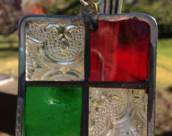 Stained Glass Christmas Ornament Red, Green and Clear with Textured Glass 2x2 inches