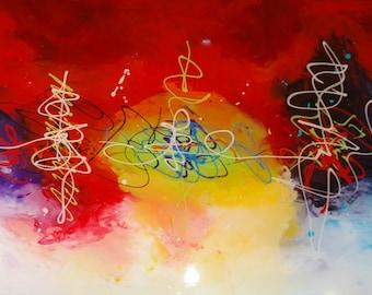 Energy, modern abstract acrylic painting on plexiglass