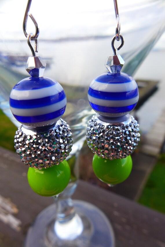 SEAHAWKS 12th FAN Inspired Blue & Green Gameday Bead Earrings, Bling Drop Style
