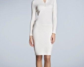 OLIVIA - Ivory soft merino wool-blend knitted dress