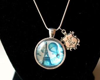 Paris Pendant Necklace with a Fleur De Lis Charm