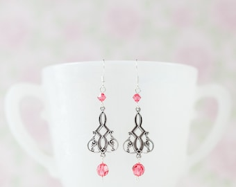 Vintage-style Victorian Earrings with Indian Pink Swarovski Crystals