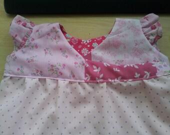Pink Floral Baby Girls Wrap Dress, Summer Dress, 0-3 months, Baby Shower Gift