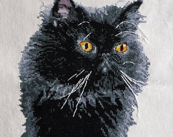 Cross stitch pattern black Persian cat