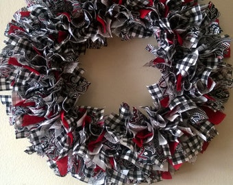 Black and White, Gingham Fabric Wreath - SALE